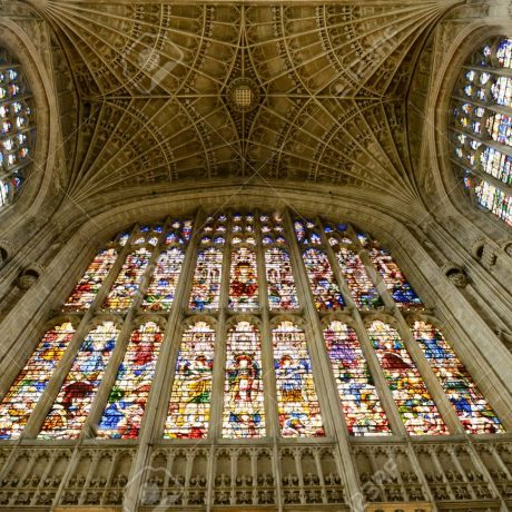 Looking Up at Stained Glass and Vaulted Fan Ceiling, Kings College Chapel, University of Cambridge, England